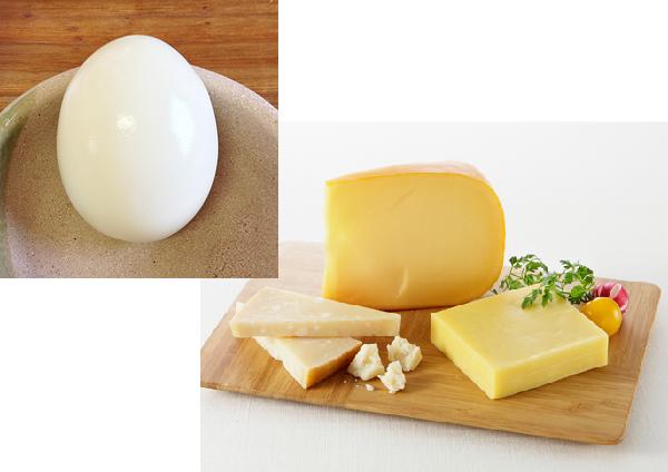ゆで卵とチーズ