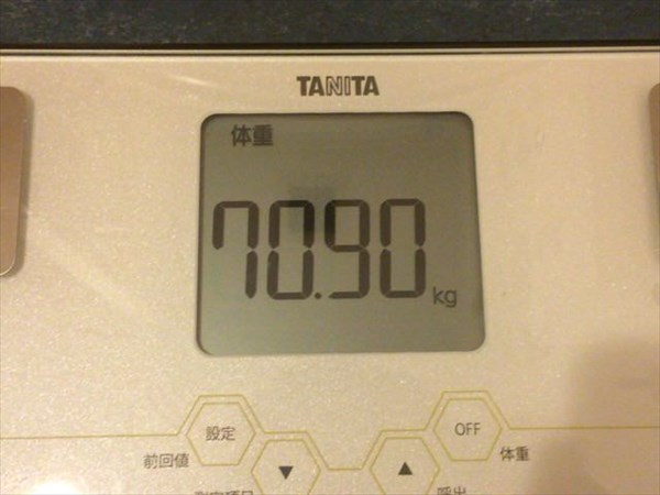 チアシードdeダイエット2週目終了時点の体重70.9kg