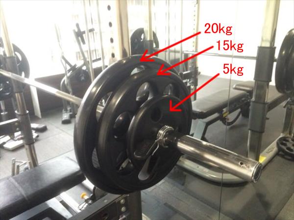 ベンチプレス100kgのバーベル(詳細)