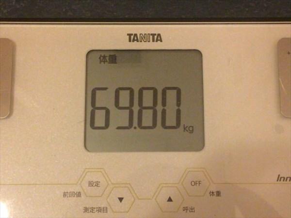 チアシードdeダイエット3週目終了時点の体重69.8kg