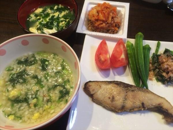 6/4の夕食に食べた魚とライザップの雑炊とキムチ納豆