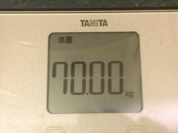 チアシードdeダイエット4週目終了時点の体重70.0kg