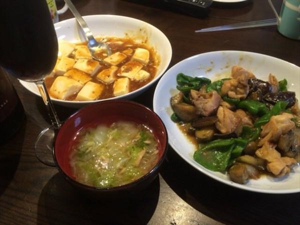 6/13の夕食で食べた麻婆豆腐と赤ワイン