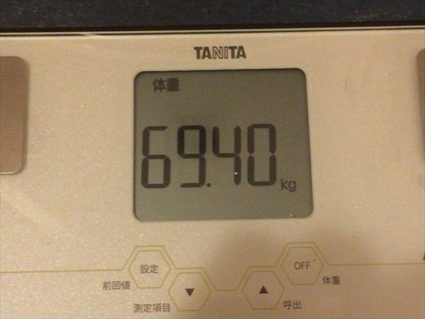 チアシードdeダイエット5週目終了時点の体重69.4kg