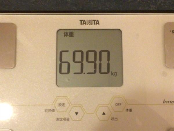チアシードdeダイエット6週目終了時点の体重69.9kg