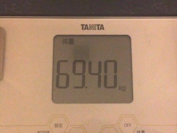 チアシードdeダイエット7週目終了時点の体重69.4kg