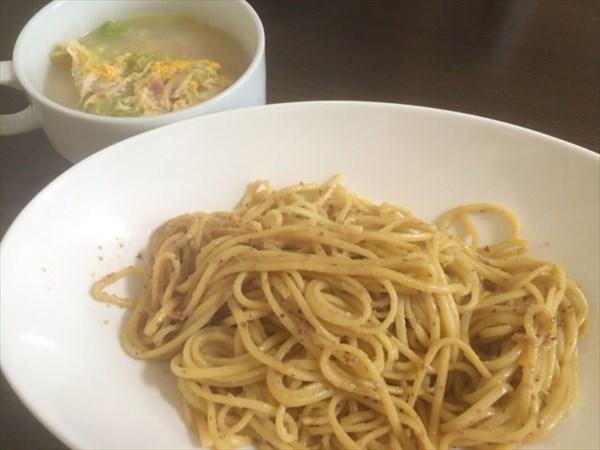 7/6のランチで食べたライザップの低糖質パスタと野菜スープ