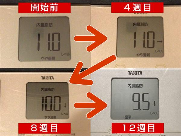 内臓脂肪レベルの数値の推移