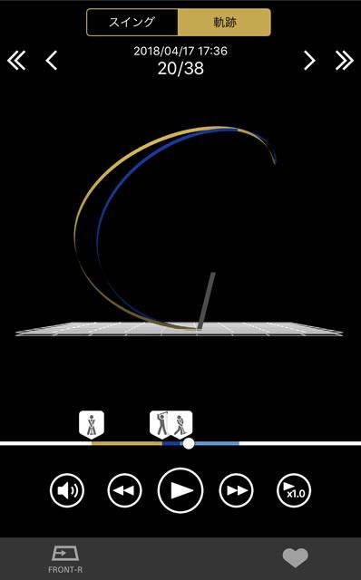 スマートセンサーで解析されたスイング軌道
